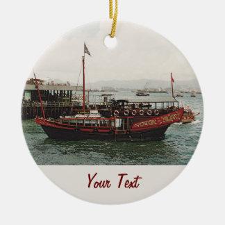 Ferry d'or Hong Kong de dragon Ornement Rond En Céramique