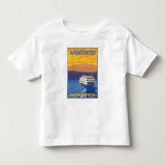 Ferry et montagnes - Anacortes, Washington T-shirt Pour Les Tous Petits
