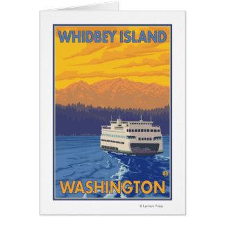 Ferry et montagnes - île de Whidbey, Washington Carte De Vœux