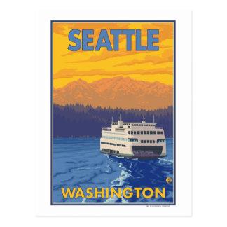 Ferry et montagnes - Seattle, Washington Carte Postale