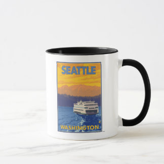 Ferry et montagnes - Seattle, Washington Mug
