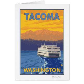 Ferry et montagnes - Tacoma, Washington Carte De Vœux