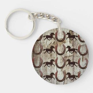 Fers à cheval de chevaux sur les cadeaux en bois porte-clé rond en acrylique double face