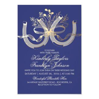 Fers à cheval rustiques or de pays et mariage de carton d'invitation  12,7 cm x 17,78 cm