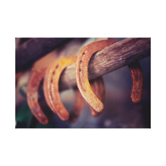 Fers à cheval sur le pays en bois de cowboy de impression sur toile
