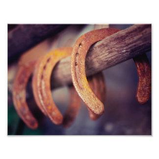 Fers à cheval sur le pays en bois de cowboy de photo sur toile