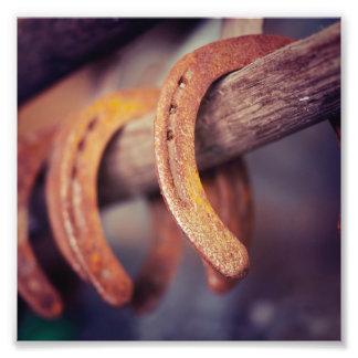 Fers à cheval sur le pays en bois de cowboy de photos sur toile