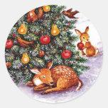 festin d'animaux d'hiver adhésifs ronds