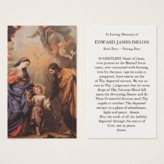 Festin funèbre de carte de prière de la famille