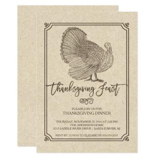 Festin traditionnel de thanksgiving de la Turquie Carton D'invitation 12,7 Cm X 17,78 Cm