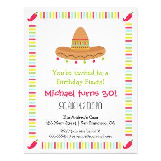 Fête d anniversaire adulte de fiesta mexicaine de cartons d'invitation