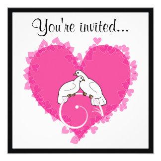 Fête d anniversaire Colombes d amour au coeur Invitations Personnalisées
