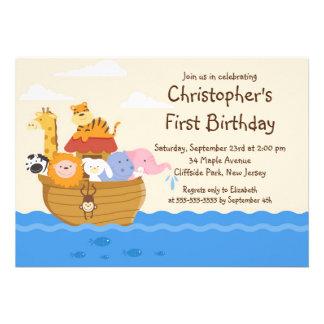 Fête d anniversaire d animaux de bébé de l arche d