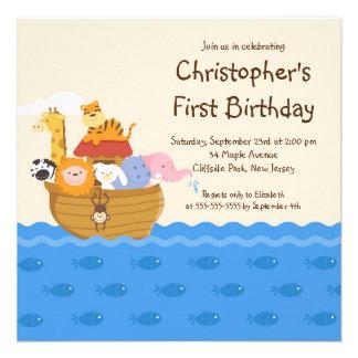 Fête d anniversaire d animaux de bébé de l arche d invitations