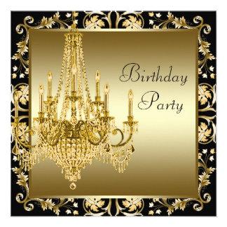 Fête d anniversaire noire élégante de lustre d or cartons d'invitation personnalisés