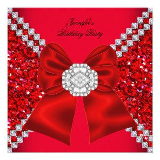 Fête d anniversaire rouge de diamants de scintille faire-part personnalisé