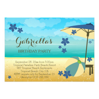 Fête d anniversaire tropicale bleue moderne de cartons d'invitation personnalisés