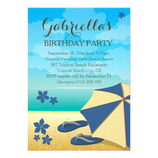 Fête d anniversaire tropicale bleue moderne de cartons d'invitation