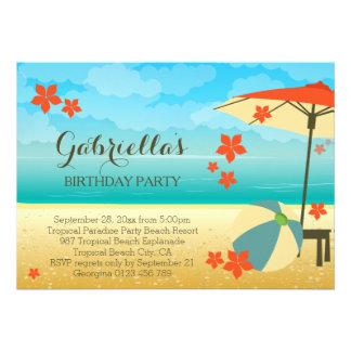 Fête d anniversaire tropicale orange moderne de carton d'invitation