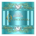 Fête d'anniversaire argentée bleue turquoise de cartons d'invitation personnalisés