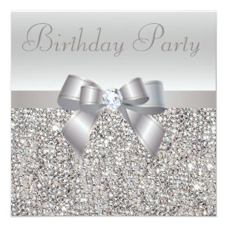 Fête d'anniversaire argentée de paillettes, d'arc invitations