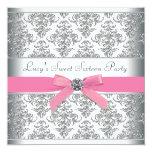Fête d'anniversaire argentée de sweet sixteen de carton d'invitation  13,33 cm