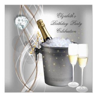 Fête d'anniversaire argentée élégante de Champagne Carton D'invitation 13,33 Cm