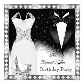 Fête d'anniversaire argentée élégante de cravate carton d'invitation  13,33 cm