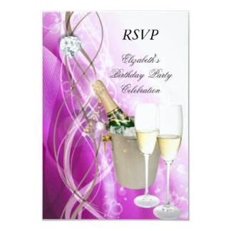 Fête d'anniversaire argentée pourpre rose élégante carton d'invitation 8,89 cm x 12,70 cm