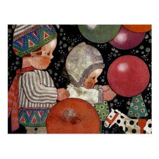 Fête d'anniversaire, ballons et jouets vintage carte postale