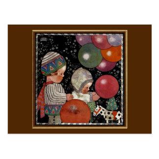 Fête d'anniversaire, ballons et jouets vintage cartes postales