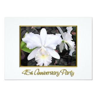 Fête d'anniversaire blanche croquante 45 carton d'invitation  12,7 cm x 17,78 cm