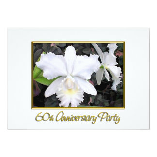 Fête d'anniversaire blanche croquante 60 carton d'invitation  12,7 cm x 17,78 cm