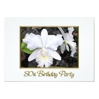 Fête d'anniversaire blanche croquante d'orchidées bristols personnalisés