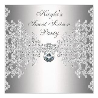 Fête d'anniversaire blanche de sweet sixteen de carton d'invitation  13,33 cm