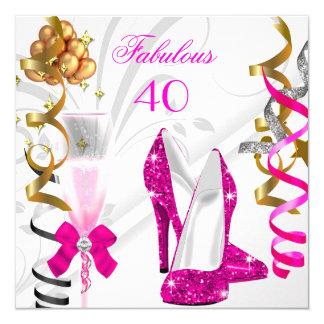 Fête d'anniversaire blanche d'or fabuleux de 40 carton d'invitation  13,33 cm
