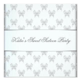 Fête d'anniversaire blanche du bonbon 16 à carton d'invitation  13,33 cm