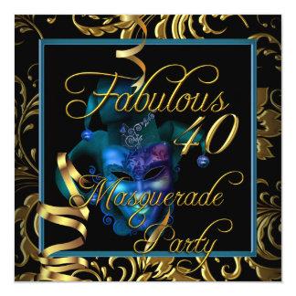 Fête d'anniversaire bleue de l'or 40 fabuleux de carton d'invitation  13,33 cm