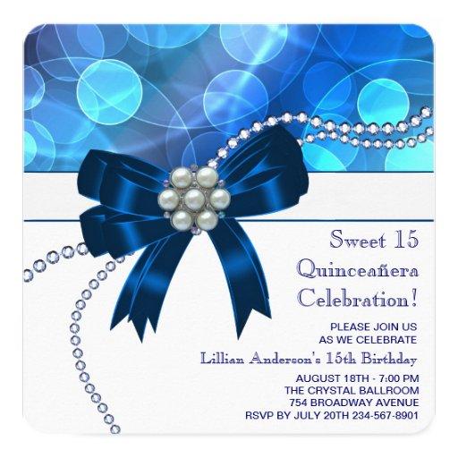 Fête d'anniversaire bleue turquoise de bleu royal carton d'invitation  13,33 cm