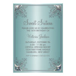 Fête d'anniversaire bleue turquoise de sweet sixte cartons d'invitation personnalisés