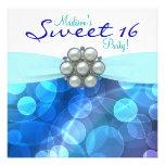 Fête d'anniversaire bleue turquoise du bonbon 16 cartons d'invitation