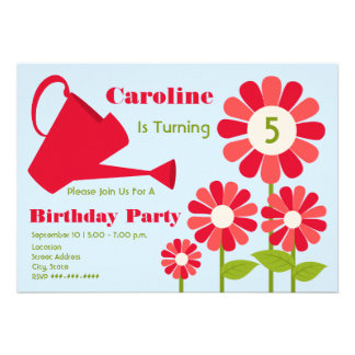 Fête d'anniversaire - boîte rouge de jardin invitations