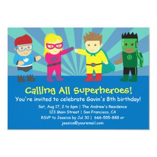 Fête d'anniversaire colorée de super héros pour carton d'invitation  11,43 cm x 15,87 cm
