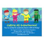 Fête d'anniversaire colorée de super héros pour invitations