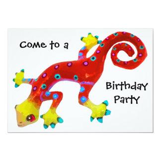 Fête d'anniversaire colorée folle de lézard carton d'invitation  12,7 cm x 17,78 cm