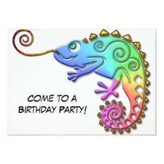 Fête d'anniversaire colorée fraîche de caméléon carton d'invitation  12,7 cm x 17,78 cm