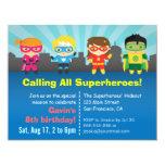 Fête d'anniversaire colorée mignonne de super invitations personnalisables