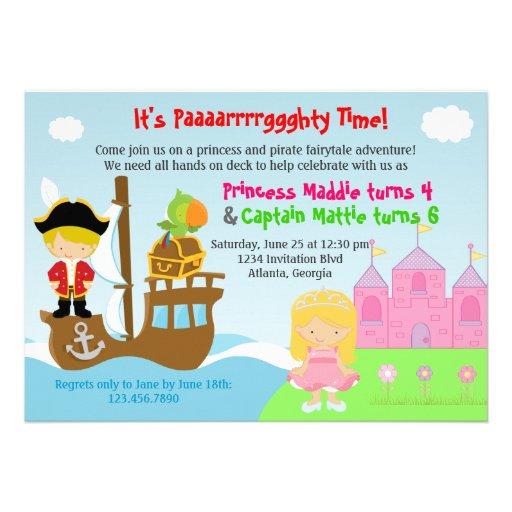 Fête d'anniversaire commune de jumelles de princes invitations