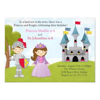 Fête d'anniversaire commune de princesse et de carton d'invitation  12,7 cm x 17,78 cm
