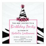 Fête d'anniversaire - copie de zèbre et chapeau carton d'invitation  13,33 cm